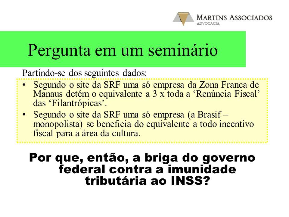 Pergunta em um seminário Partindo-se dos seguintes dados: Segundo o site da SRF uma só empresa da Zona Franca de Manaus detém o equivalente a 3 x toda