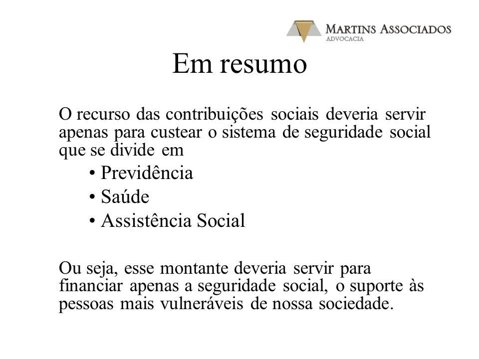 Em resumo O recurso das contribuições sociais deveria servir apenas para custear o sistema de seguridade social que se divide em Previdência Saúde Ass