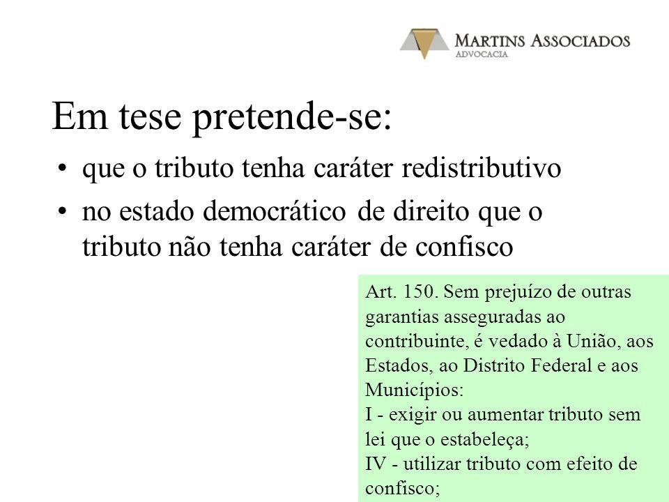 Em tese pretende-se: que o tributo tenha caráter redistributivo no estado democrático de direito que o tributo não tenha caráter de confisco Art. 150.
