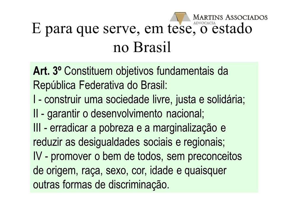 E para que serve, em tese, o estado no Brasil Art. 3º Constituem objetivos fundamentais da República Federativa do Brasil: I - construir uma sociedade