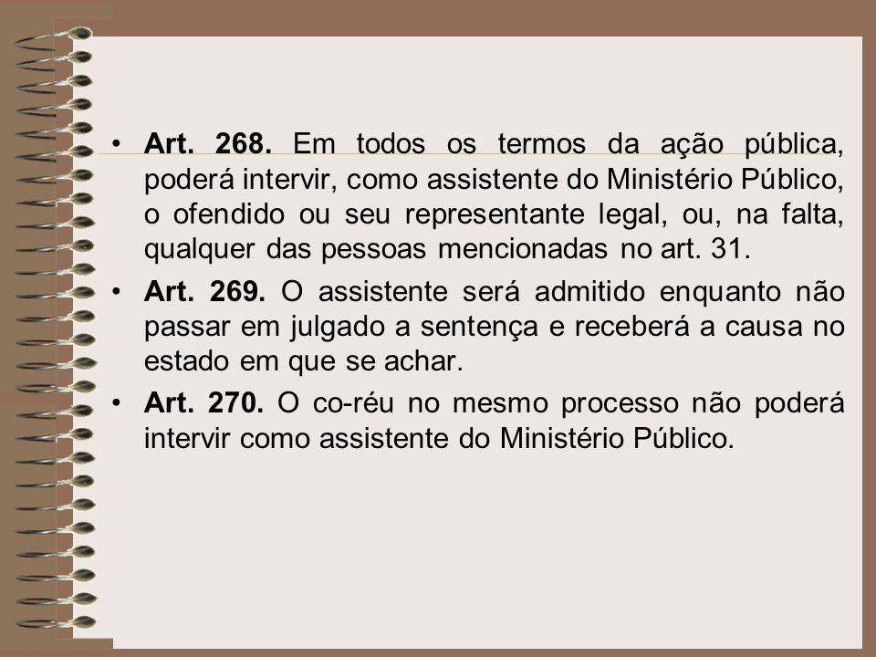 Art. 268. Em todos os termos da ação pública, poderá intervir, como assistente do Ministério Público, o ofendido ou seu representante legal, ou, na fa