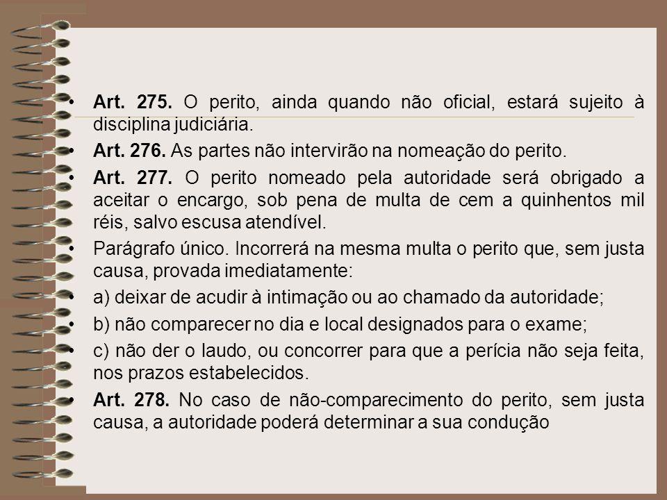 Art. 275. O perito, ainda quando não oficial, estará sujeito à disciplina judiciária. Art. 276. As partes não intervirão na nomeação do perito. Art. 2