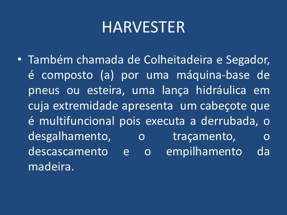 HARVESTER Também chamada de Colheitadeira e Segador, é composto (a) por uma máquina-base de pneus ou esteira, uma lança hidráulica em cuja extremidade