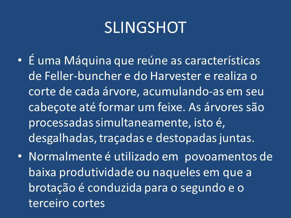 SLINGSHOT É uma Máquina que reúne as características de Feller-buncher e do Harvester e realiza o corte de cada árvore, acumulando-as em seu cabeçote