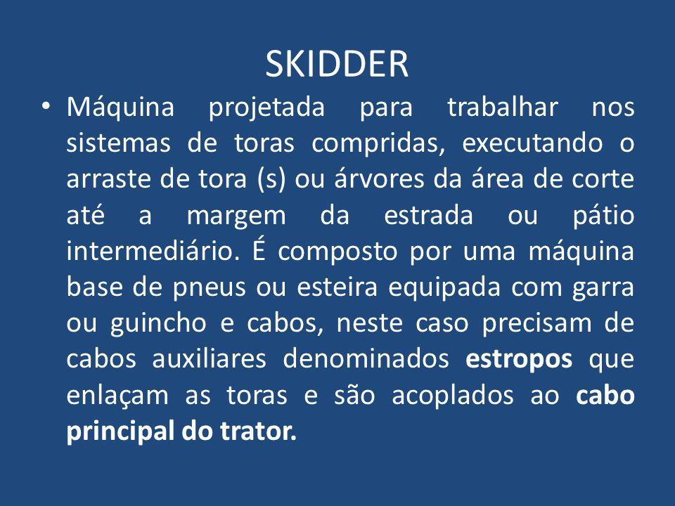 SKIDDER Máquina projetada para trabalhar nos sistemas de toras compridas, executando o arraste de tora (s) ou árvores da área de corte até a margem da