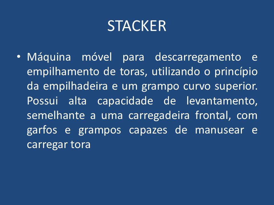 STACKER Máquina móvel para descarregamento e empilhamento de toras, utilizando o princípio da empilhadeira e um grampo curvo superior. Possui alta cap
