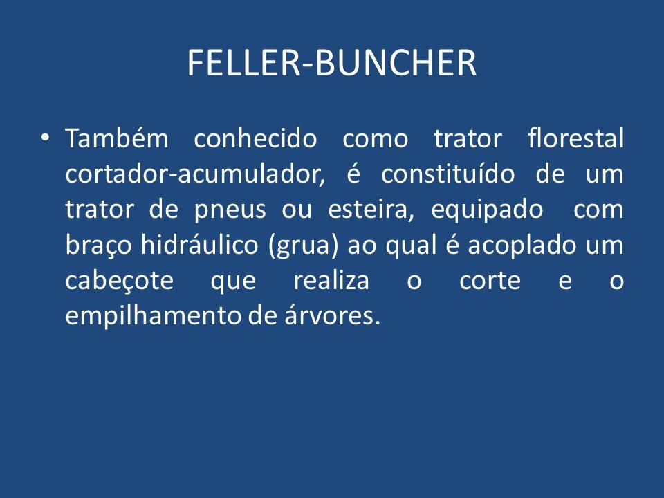 FELLER-BUNCHER Também conhecido como trator florestal cortador-acumulador, é constituído de um trator de pneus ou esteira, equipado com braço hidráuli