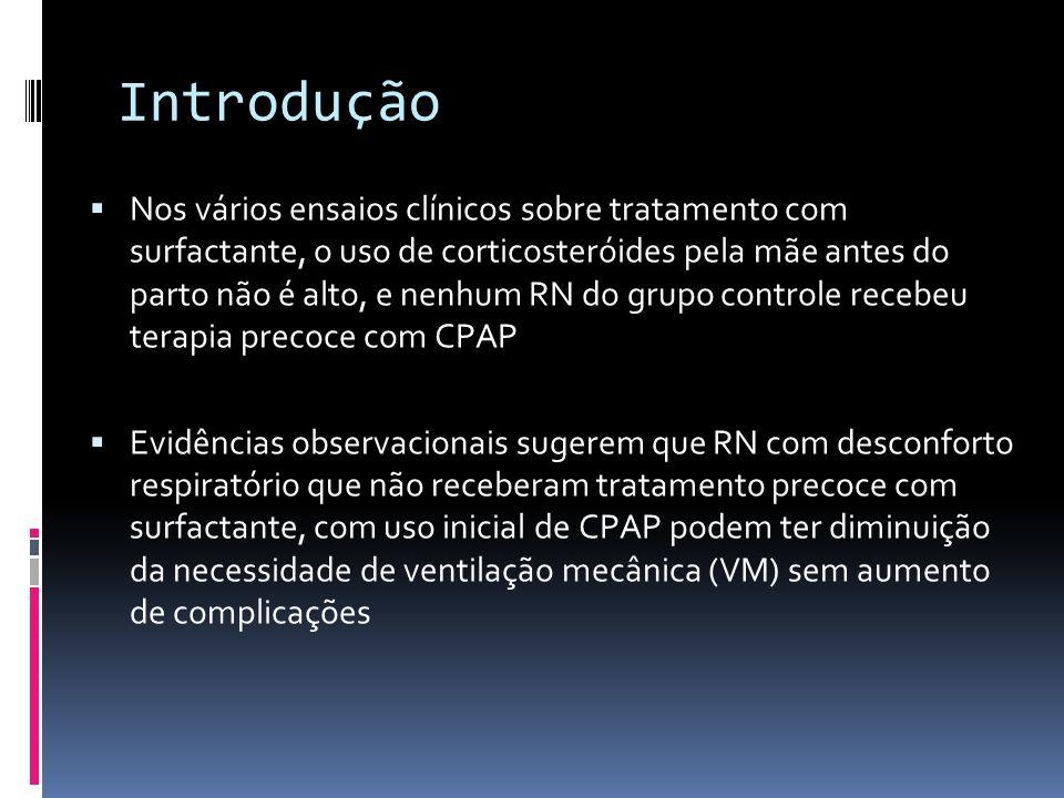 Nos vários ensaios clínicos sobre tratamento com surfactante, o uso de corticosteróides pela mãe antes do parto não é alto, e nenhum RN do grupo contr