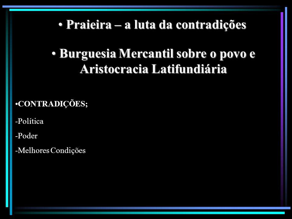 Praieira – a luta da contradições Praieira – a luta da contradições Burguesia Mercantil sobre o povo e Aristocracia Latifundiária Burguesia Mercantil