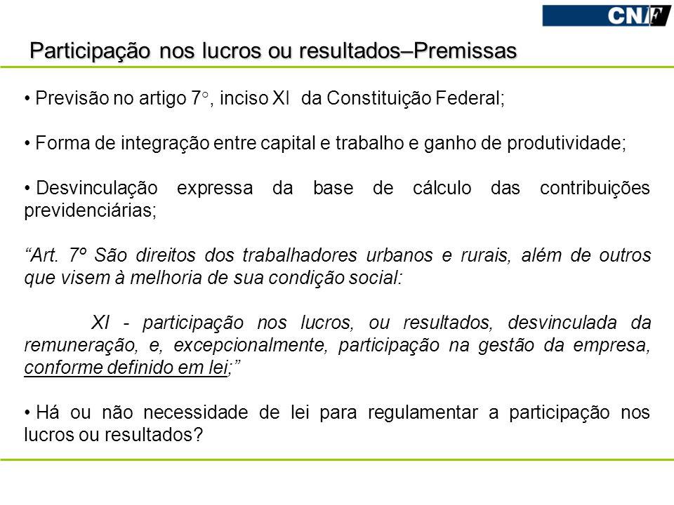Participação nos lucros ou resultados–Premissas Previsão no artigo 7°, inciso XI da Constituição Federal; Forma de integração entre capital e trabalho