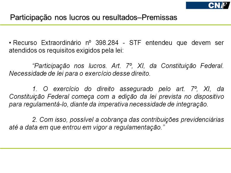 Participação nos lucros ou resultados–Premissas Recurso Extraordinário nº 398.284 - STF entendeu que devem ser atendidos os requisitos exigidos pela l