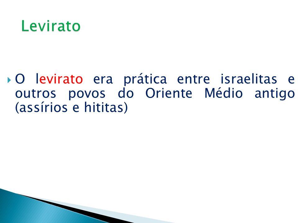O levirato era prática entre israelitas e outros povos do Oriente Médio antigo (assírios e hititas)