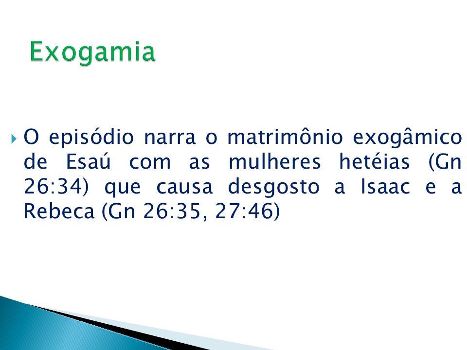 O episódio narra o matrimônio exogâmico de Esaú com as mulheres hetéias (Gn 26:34) que causa desgosto a Isaac e a Rebeca (Gn 26:35, 27:46)