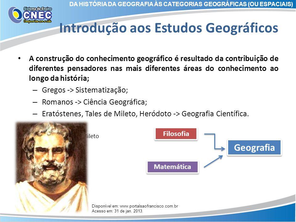 Introdução aos Estudos Geográficos A construção do conhecimento geográfico é resultado da contribuição de diferentes pensadores nas mais diferentes ár