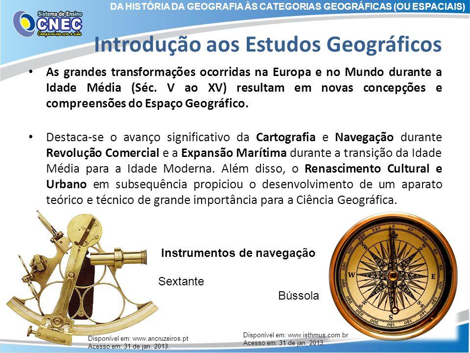 Introdução aos Estudos Geográficos As grandes transformações ocorridas na Europa e no Mundo durante a Idade Média (Séc. V ao XV) resultam em novas con