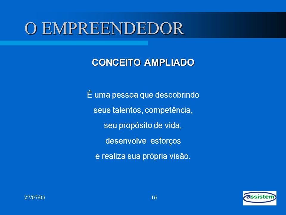 27/07/0316 O EMPREENDEDOR CONCEITO AMPLIADO É uma pessoa que descobrindo seus talentos, competência, seu propósito de vida, desenvolve esforços e real