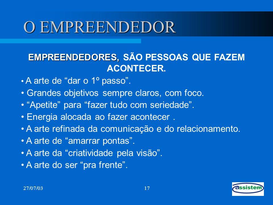 27/07/0317 O EMPREENDEDOR EMPREENDEDORES, EMPREENDEDORES, SÃO PESSOAS QUE FAZEM ACONTECER. A arte de dar o 1º passo. Grandes objetivos sempre claros,