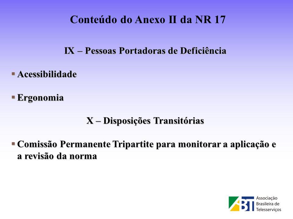 IX – Pessoas Portadoras de Deficiência Acessibilidade Acessibilidade Ergonomia Ergonomia X – Disposições Transitórias Comissão Permanente Tripartite p