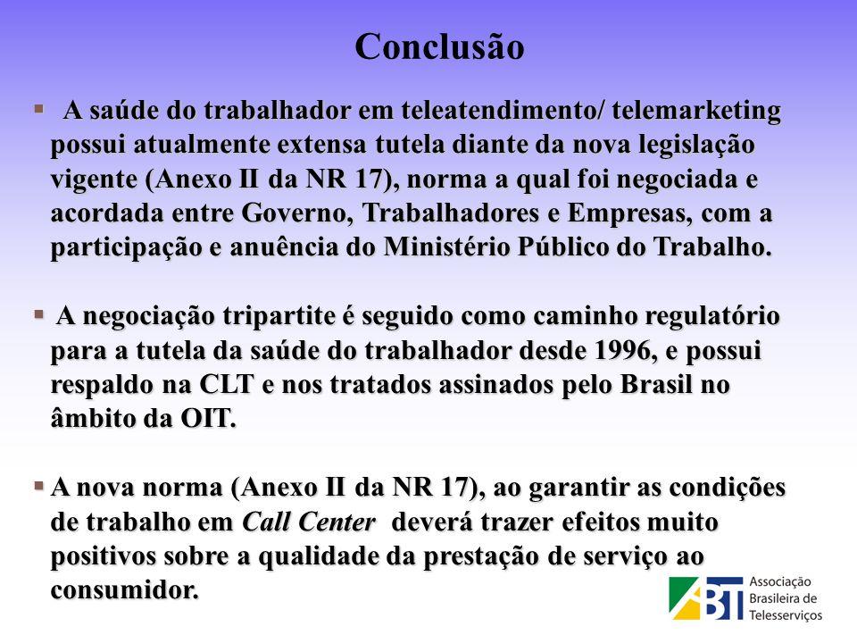 A saúde do trabalhador em teleatendimento/ telemarketing possui atualmente extensa tutela diante da nova legislação vigente (Anexo II da NR 17), norma