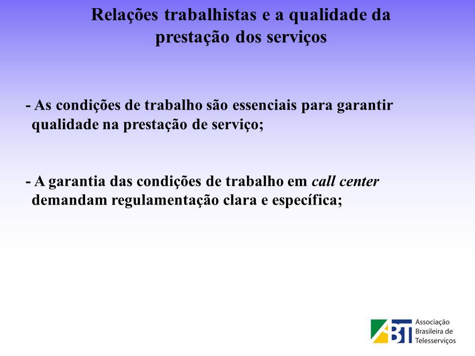 - As condições de trabalho são essenciais para garantir qualidade na prestação de serviço; - A garantia das condições de trabalho em call center deman