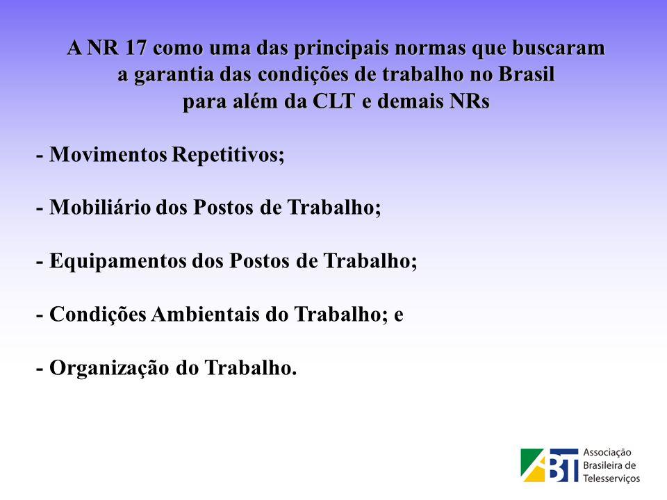 A NR 17 como uma das principais normas que buscaram a garantia das condições de trabalho no Brasil para além da CLT e demais NRs - Movimentos Repetiti