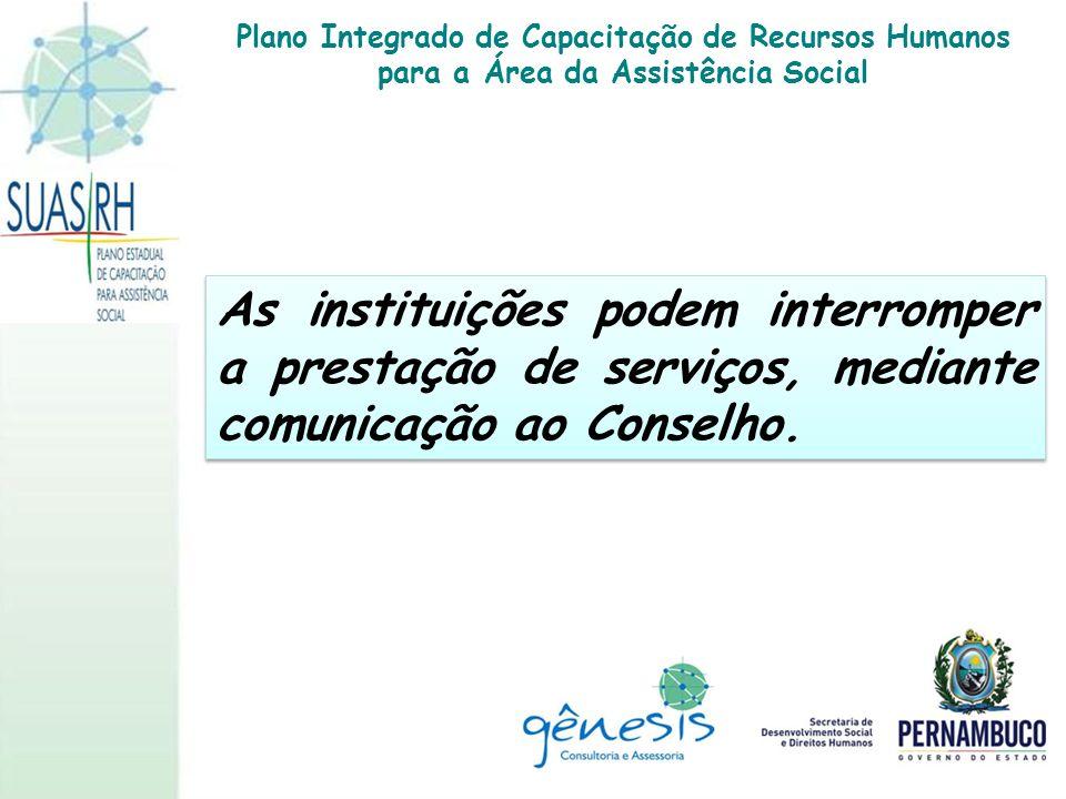 As instituições podem interromper a prestação de serviços, mediante comunicação ao Conselho. Plano Integrado de Capacitação de Recursos Humanos para a