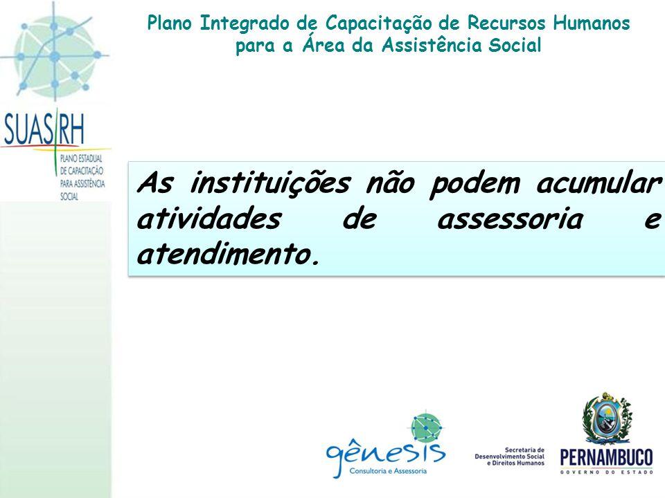 As instituições não podem acumular atividades de assessoria e atendimento. Plano Integrado de Capacitação de Recursos Humanos para a Área da Assistênc