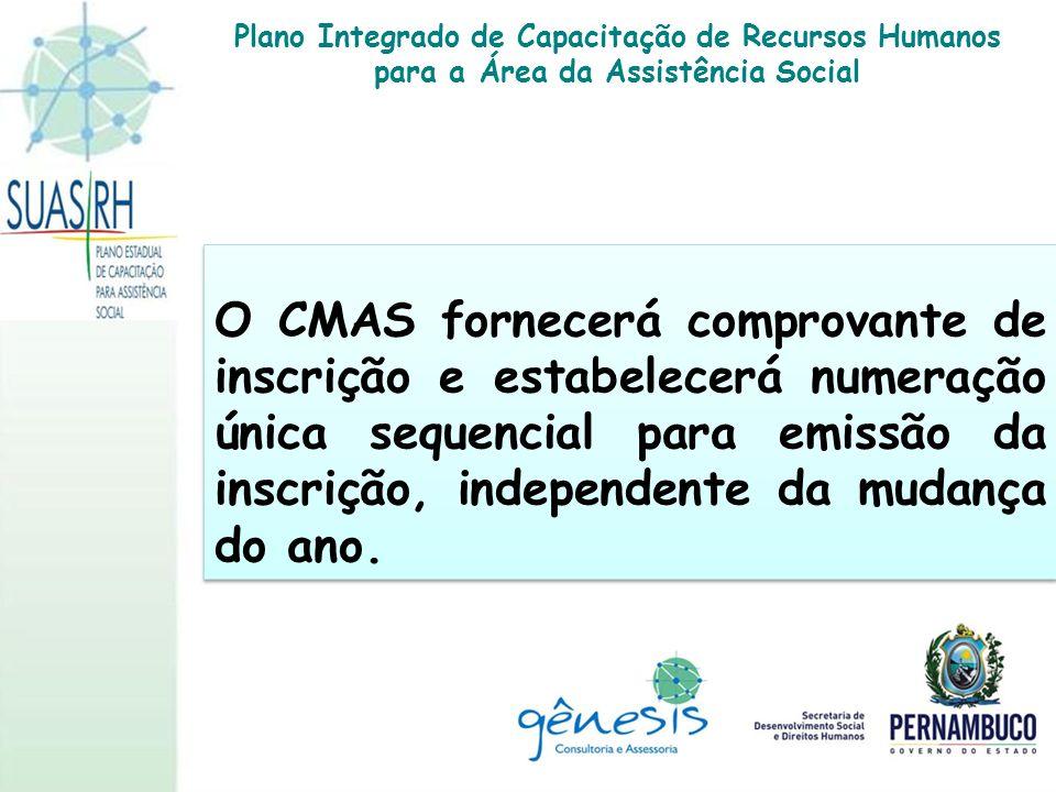O CMAS fornecerá comprovante de inscrição e estabelecerá numeração única sequencial para emissão da inscrição, independente da mudança do ano. Plano I