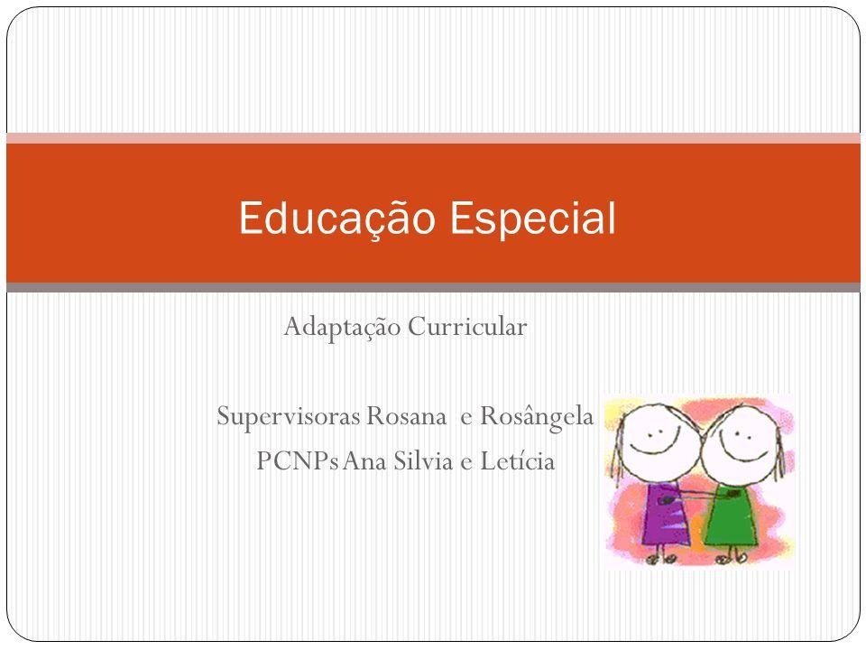 Adaptação Curricular Supervisoras Rosana e Rosângela PCNPs Ana Silvia e Letícia Educação Especial