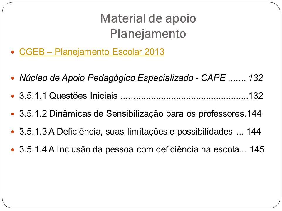 Material de apoio Planejamento CGEB – Planejamento Escolar 2013 Núcleo de Apoio Pedagógico Especializado - CAPE....... 132 3.5.1.1 Questões Iniciais..
