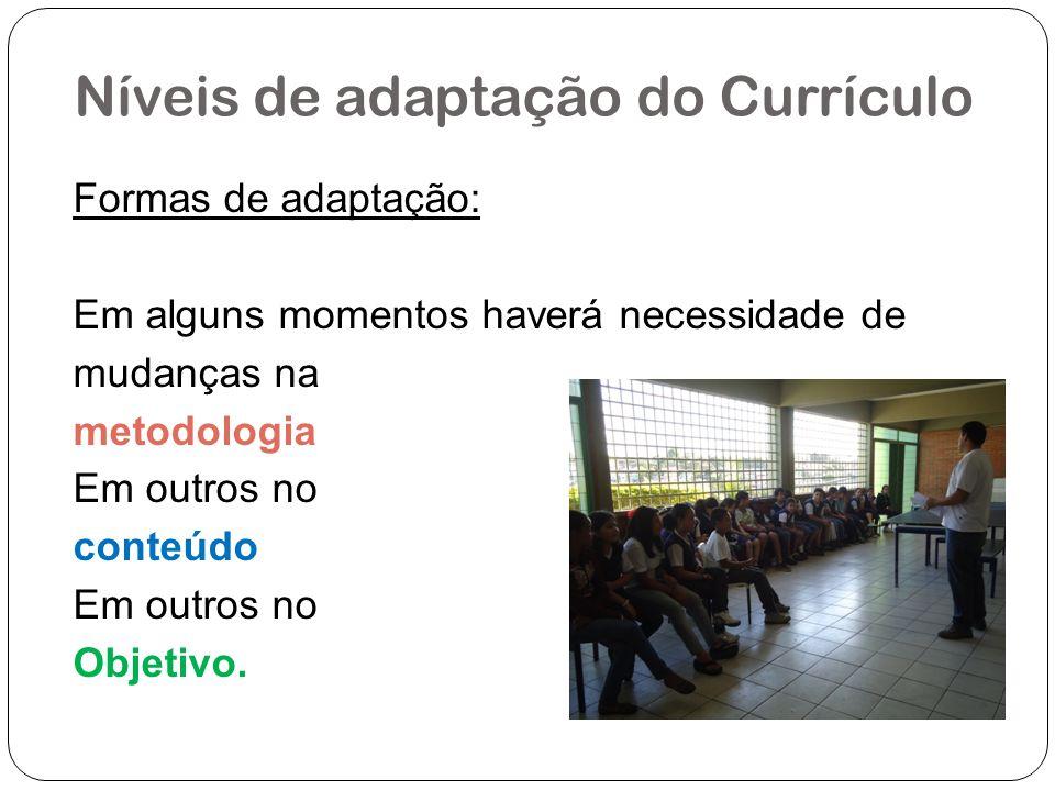 Níveis de adaptação do Currículo Formas de adaptação: Em alguns momentos haverá necessidade de mudanças na metodologia Em outros no conteúdo Em outros