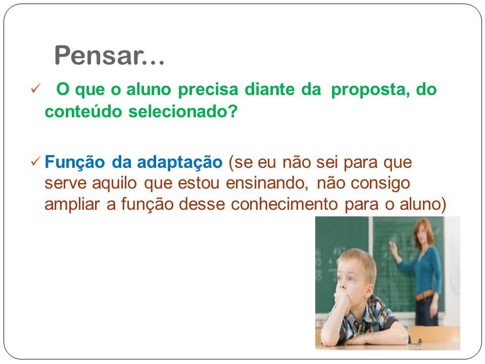 Pensar... O que o aluno precisa diante da proposta, do conteúdo selecionado? Função da adaptação (se eu não sei para que serve aquilo que estou ensina