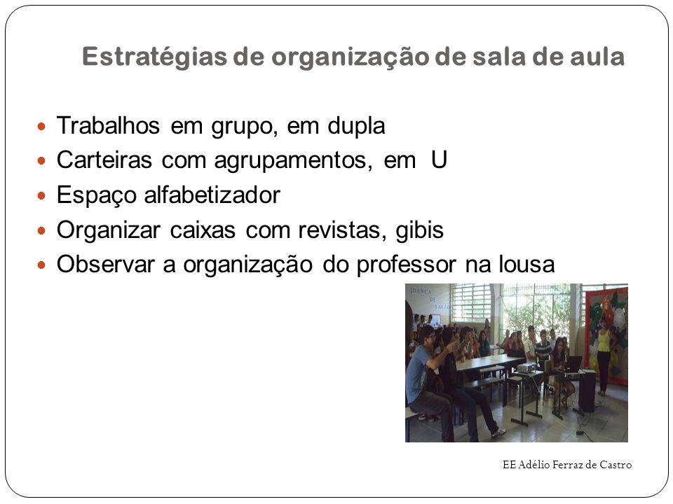 Estratégias de organização de sala de aula Trabalhos em grupo, em dupla Carteiras com agrupamentos, em U Espaço alfabetizador Organizar caixas com rev