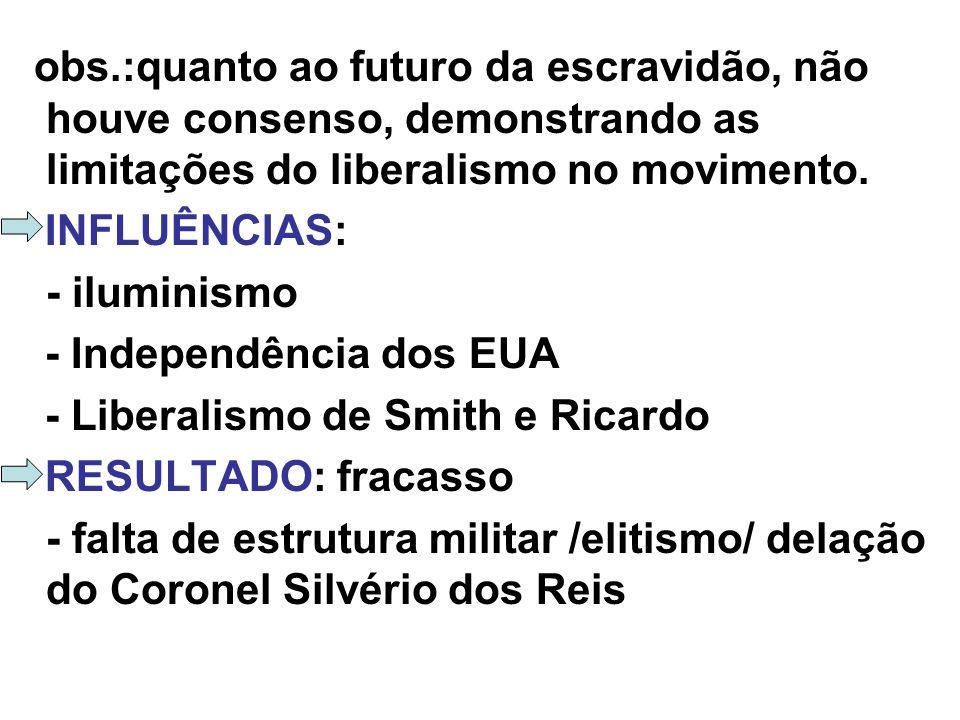 obs.:quanto ao futuro da escravidão, não houve consenso, demonstrando as limitações do liberalismo no movimento. INFLUÊNCIAS: - iluminismo - Independê