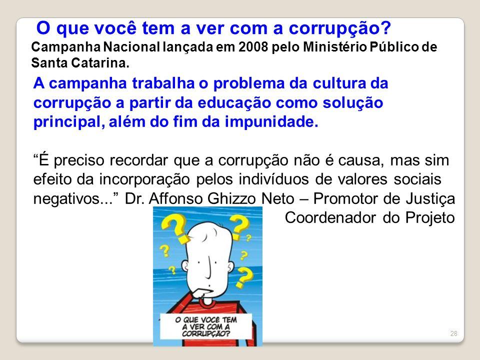 O que você tem a ver com a corrupção? Campanha Nacional lançada em 2008 pelo Ministério Público de Santa Catarina. 28 A campanha trabalha o problema d