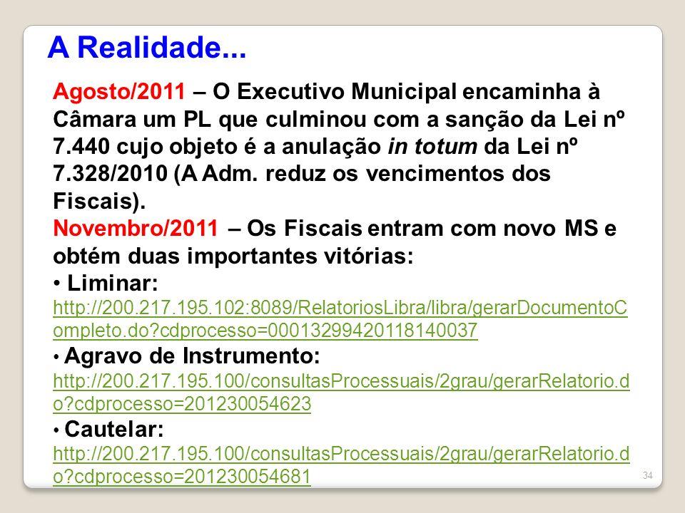 34 A Realidade... Agosto/2011 – O Executivo Municipal encaminha à Câmara um PL que culminou com a sanção da Lei nº 7.440 cujo objeto é a anulação in t