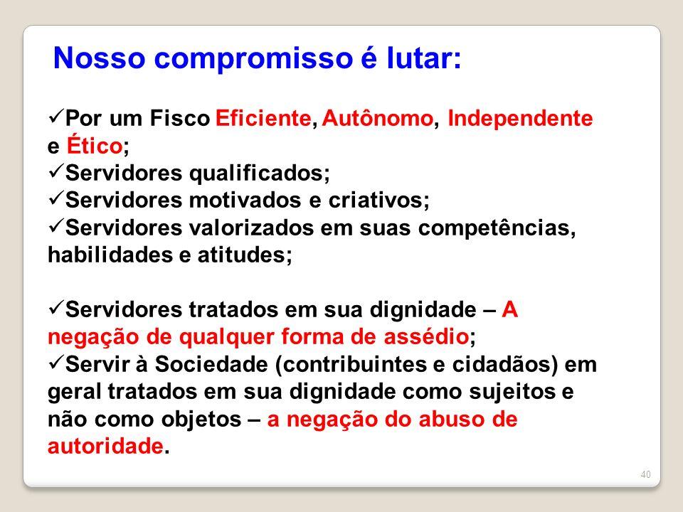 40 Nosso compromisso é lutar: Por um Fisco Eficiente, Autônomo, Independente e Ético; Servidores qualificados; Servidores motivados e criativos; Servi