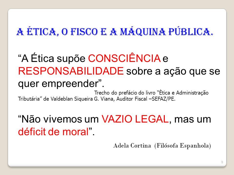 A Ética, o Fisco e a Máquina Pública. A Ética supõe CONSCIÊNCIA e RESPONSABILIDADE sobre a ação que se quer empreender. Trecho do prefácio do livro Èt