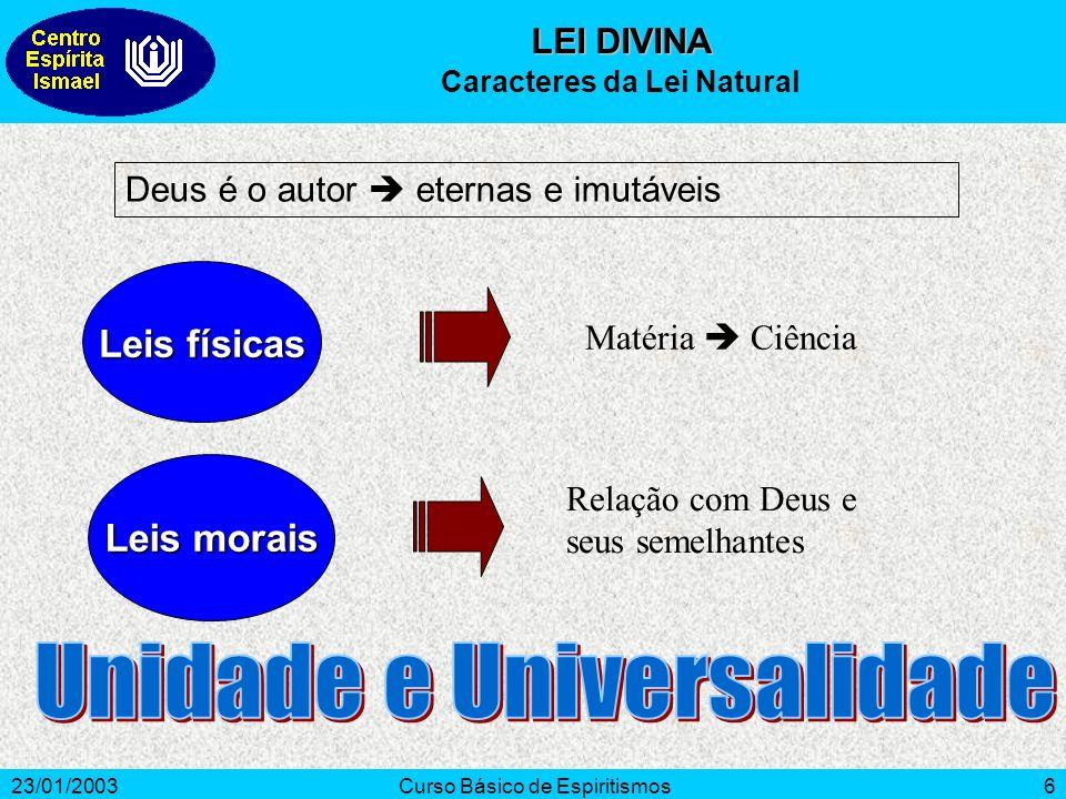 23/01/2003Curso Básico de Espiritismos6 Leis físicas Leis morais Deus é o autor eternas e imutáveis Matéria Ciência Relação com Deus e seus semelhante