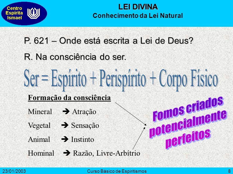 23/01/2003Curso Básico de Espiritismos8 P. 621 – Onde está escrita a Lei de Deus? R. Na consciência do ser. Formação da consciência Mineral Atração Ve