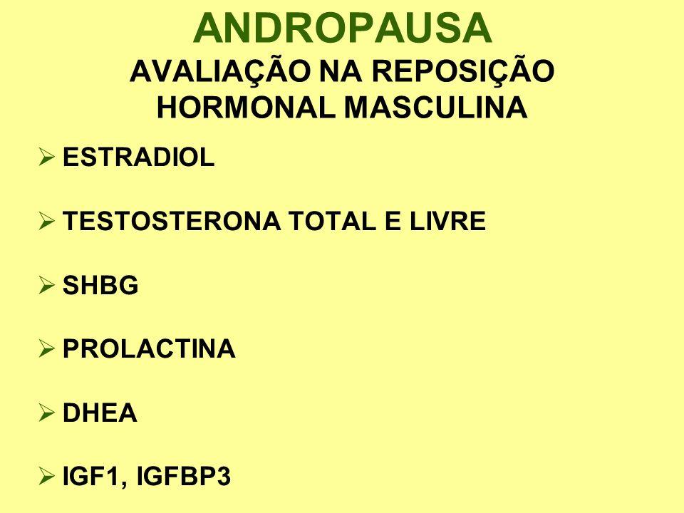 ESTRADIOL TESTOSTERONA TOTAL E LIVRE SHBG PROLACTINA DHEA IGF1, IGFBP3 ANDROPAUSA AVALIAÇÃO NA REPOSIÇÃO HORMONAL MASCULINA