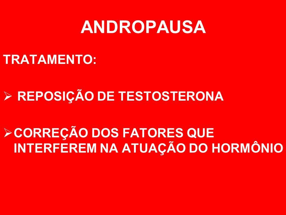 ANDROPAUSA TRATAMENTO: REPOSIÇÃO DE TESTOSTERONA CORREÇÃO DOS FATORES QUE INTERFEREM NA ATUAÇÃO DO HORMÔNIO
