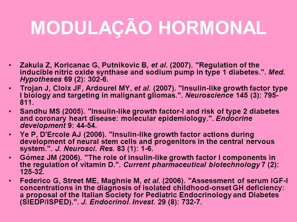 MODULAÇÃO HORMONAL Zakula Z, Koricanac G, Putnikovic B, et al. (2007).