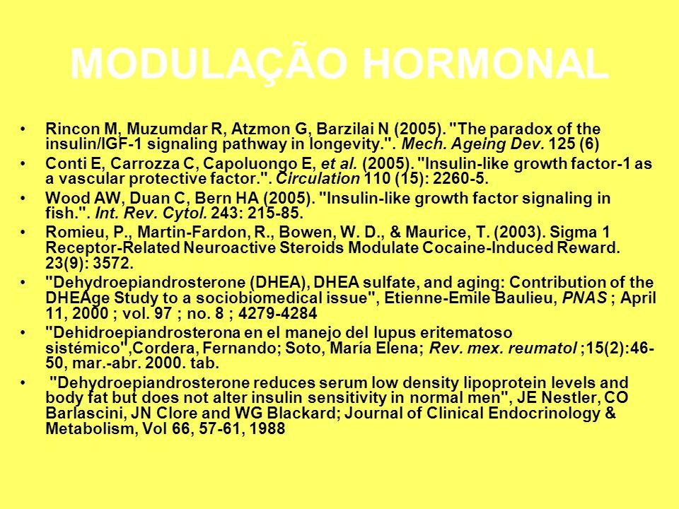 MODULAÇÃO HORMONAL Rincon M, Muzumdar R, Atzmon G, Barzilai N (2005).
