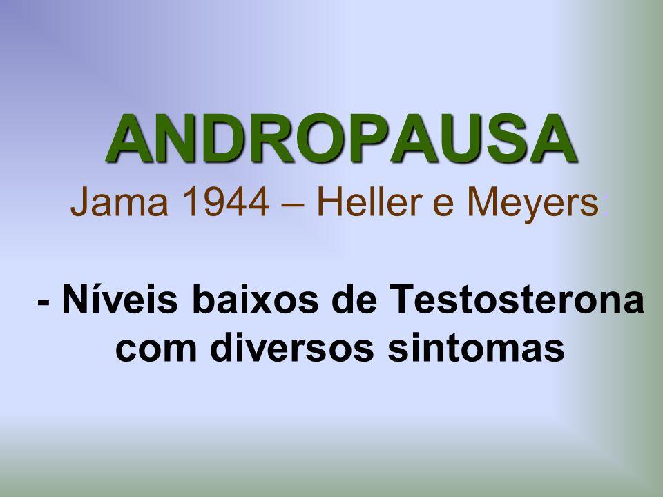 ANDROPAUSA ANDROPAUSA Jama 1944 – Heller e Meyers: - Níveis baixos de Testosterona com diversos sintomas