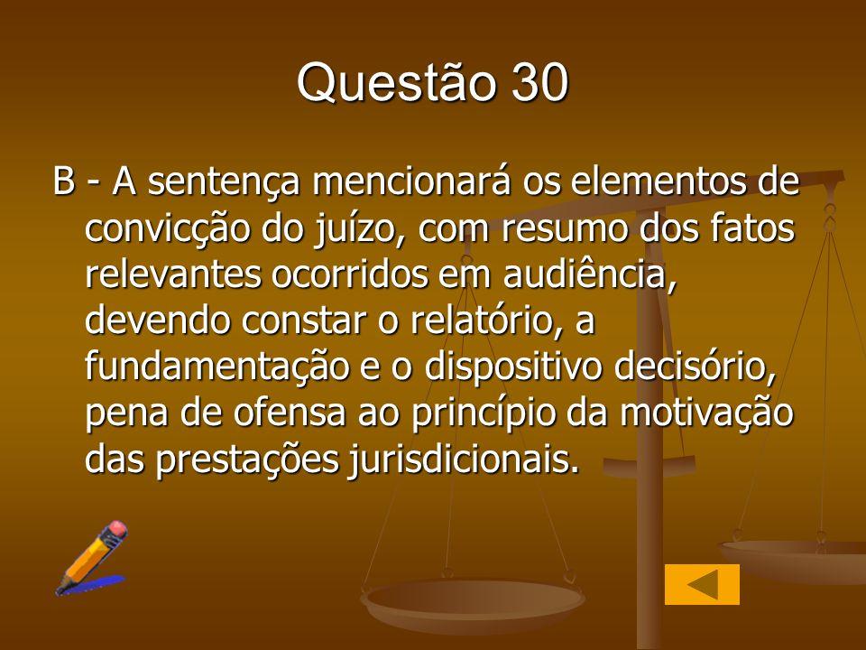 Questão 30 B - A sentença mencionará os elementos de convicção do juízo, com resumo dos fatos relevantes ocorridos em audiência, devendo constar o rel