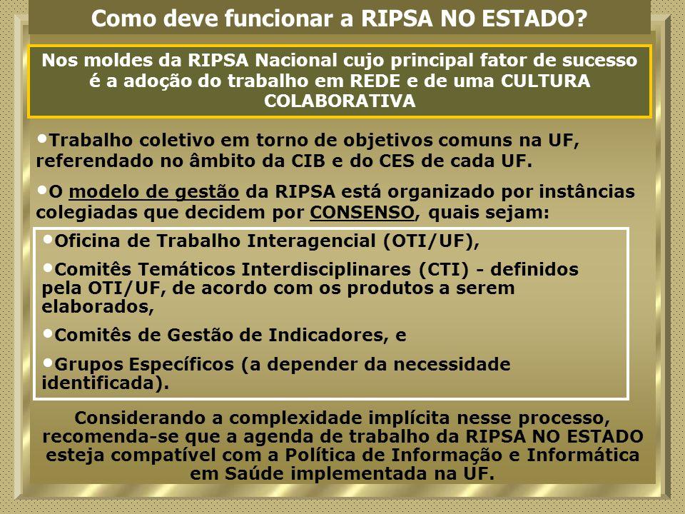 Como deve funcionar a RIPSA NO ESTADO? Nos moldes da RIPSA Nacional cujo principal fator de sucesso é a adoção do trabalho em REDE e de uma CULTURA CO