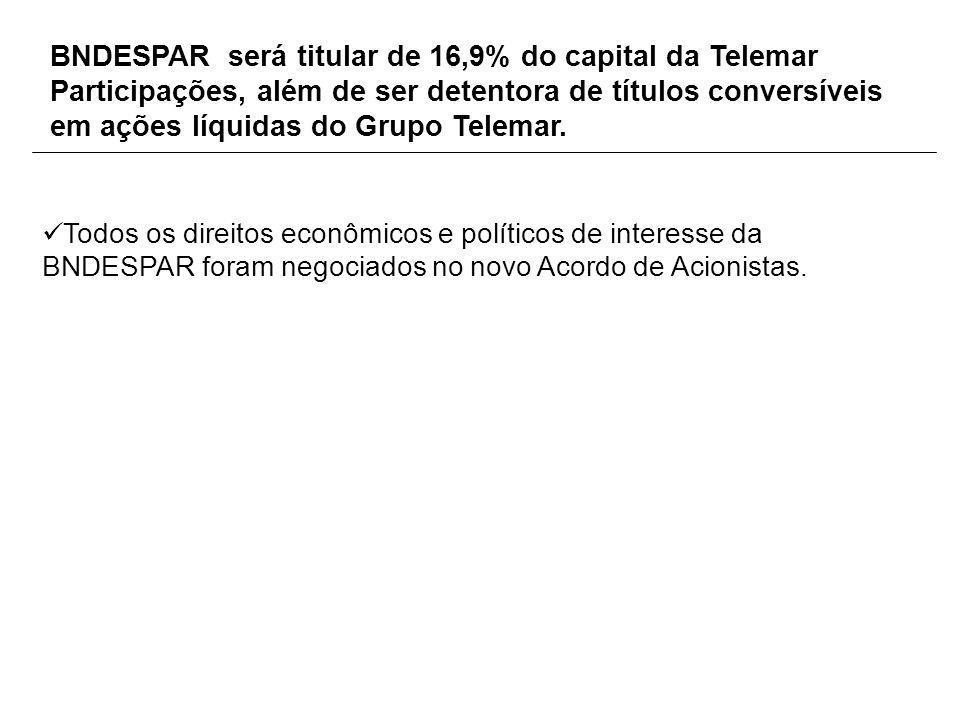 BNDESPAR será titular de 16,9% do capital da Telemar Participações, além de ser detentora de títulos conversíveis em ações líquidas do Grupo Telemar.