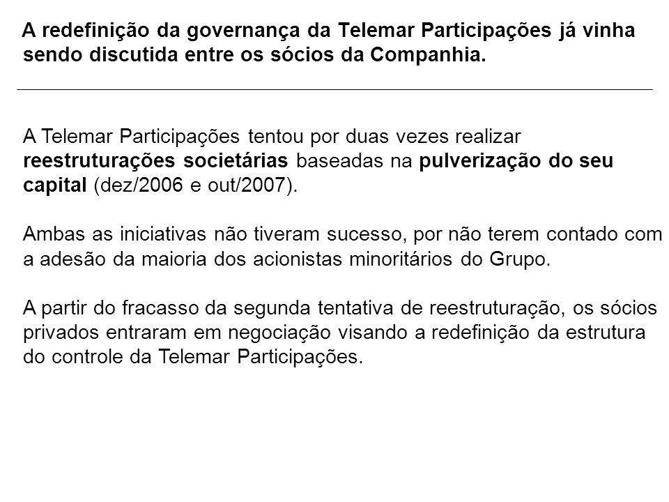 A redefinição da governança da Telemar Participações já vinha sendo discutida entre os sócios da Companhia. A Telemar Participações tentou por duas ve
