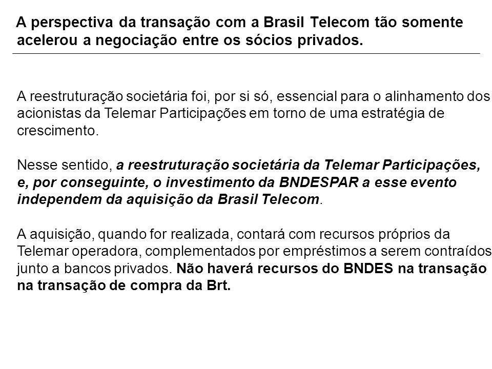A perspectiva da transação com a Brasil Telecom tão somente acelerou a negociação entre os sócios privados. A reestruturação societária foi, por si só